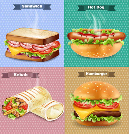 Burger, sandwich, hot dog and wrap Vector. Realistic banners set collection