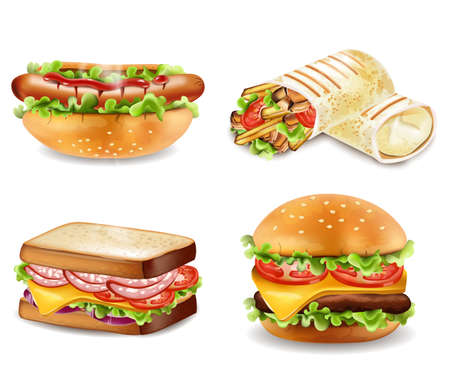 Burger, sandwich, hot dog and wrap Vector isolated. Realistic set collection Illustration