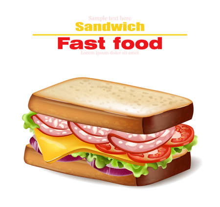 Sandwich Vector realistic. Fast food 3d detailed illustration