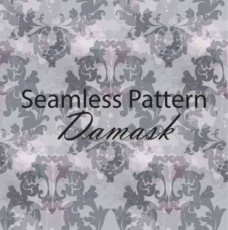 Vintage Baroque seamless texture pattern Vector. Wallpaper ornament decor. Textile, fabric, tiles. Gray color