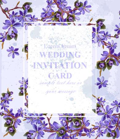 Wedding Invitation card with purple flowers Vector. Beautifull frame decor