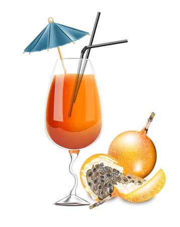 Granadilla fruit cocktail Vector. Realistic summer drink tropic juice 3d illustrations Illustration
