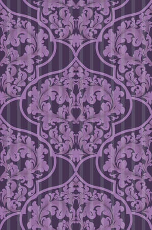 Baroque seamless pattern Vector. Trendy ultra violet colors