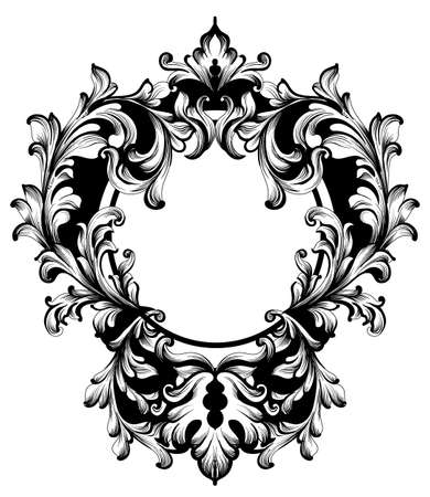 Vintage Frame Vector. Classic rich ornamented carved decors. Baroque sophisticated designs