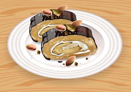 Homemade Chocolate and pistachio roll dessert on white plate Vector Vettoriali