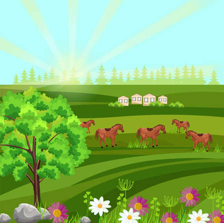 Horses on a green field Vector. Farm ville sunny summer day backgrounds