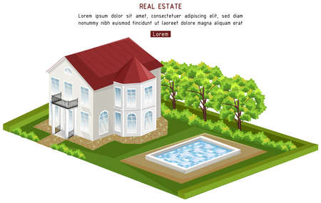 Real estate house with pool isolated Vector. architecture 3d illustrations