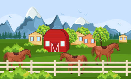 Horses farm, green field Vector. Farm ville sunny summer day backgrounds