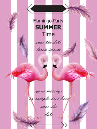 Flamingos party Summer card Vector. Tropic exotic pink flamingos flyer or banner