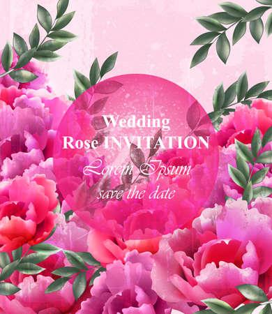 Wedding roses Invitation Vector. Beautiful roses flowers decor. Elegant decor vintage backgrounds