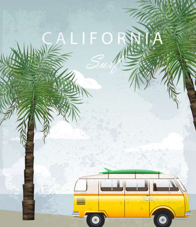 California Summer Travel card with camping car Vector. Camping trailer on palm trees backgrounds Illusztráció