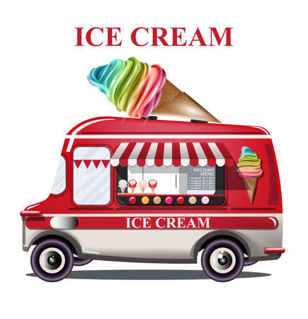 Ice cream stand vehicle Vector. Summer background. Birthday card or event posters