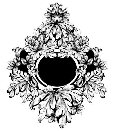 Vector de marco redondo barroco. Decoraciones clásicas ricas talladas ornamentadas. Diseños sofisticados rococó