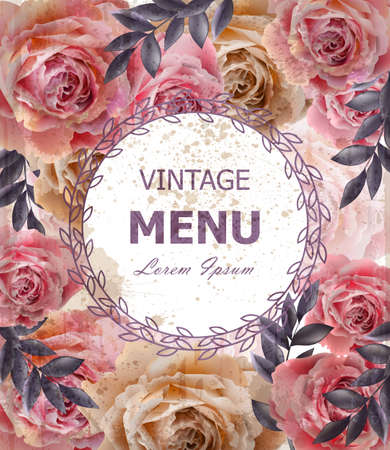Vintage roses background Vector. Floral card retro decors