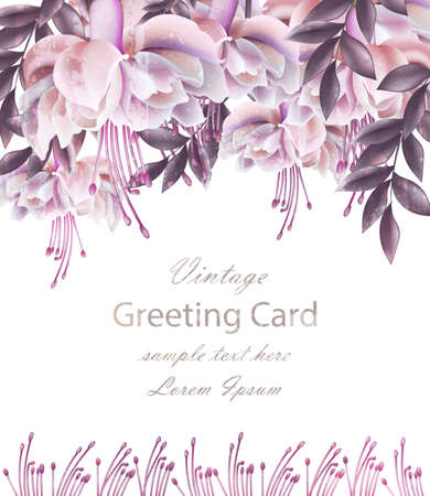 Vintage Wedding card with floral decor Vector. Beautiful flowers template. Spring Summer Invitation design realistic 3d illustration