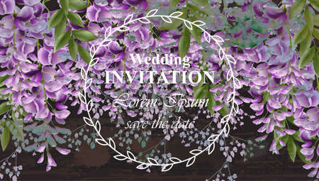 Wisteria flowers Wedding invitation card Vector. Gorgeous nature beauty design decorations 矢量图像