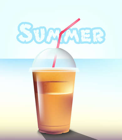 Frappe Vector realistic. Summer sea pastel backgrounds