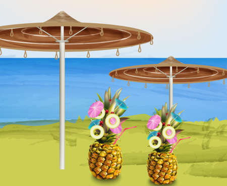 Summer umbrella and pineapple cocktails Vector Illustration