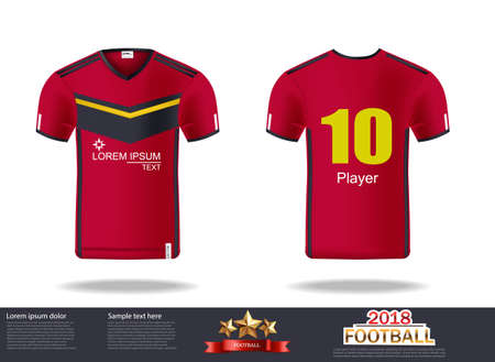 Football t-shirts Vector. Design template for soccer jersey, football kit and tank top for basketball jersey. Sport uniform in front and back view. Tshirt mock up for sport club. Vector Illustrations