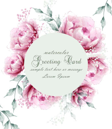 Watercolor peony flowers weath blossom card Vector. Vintage floral greeting card. Summer peonies flowers bouquets Vektorové ilustrace