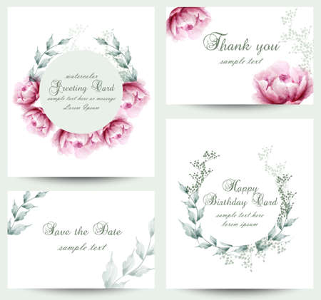 Watercolor peony flowers blossom card set. Vintage greeting cards, wedding invitation, thank you postcard. Summer floral peonies Vector. flower decoration bouquets Ilustracja