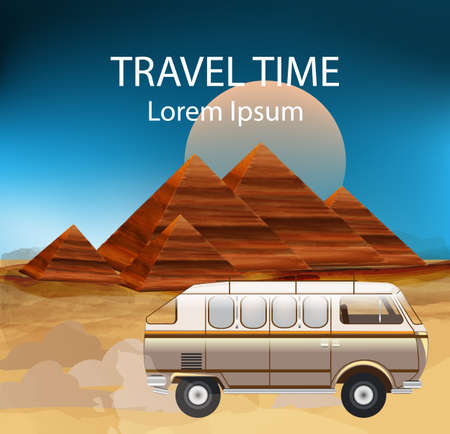 Egypt Summer Travel bus Vector. Camping trailer, egypt pyramids