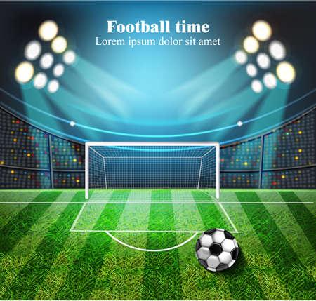 Football field Vector realistic. Football gates. Soccer ball on the stadium. detailed 3d illustrations Illustration