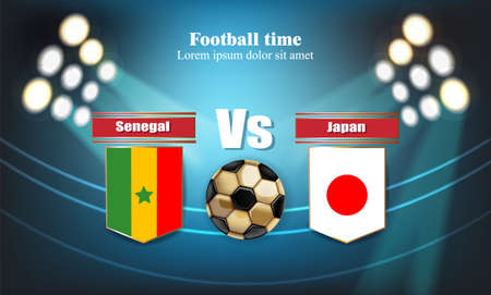 Football board Senegal flag VS Japan. 2018 World championship template match. teams soccer national flags. red and blue trend sport backgrounds