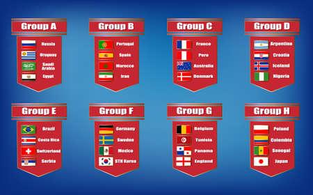 Campeonato de grupos de fútbol Banderas iconos de los países participantes Vectores