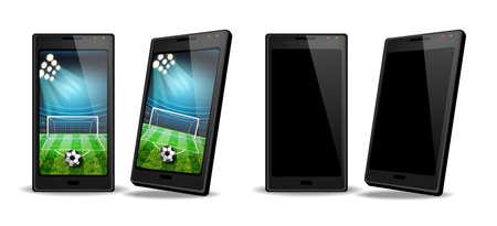 Smartphone mit Fußball-Score auf dem Bildschirm Vektor realistisch. Online-Web-Banner-Vorlagen für Sportwetten Vektorgrafik