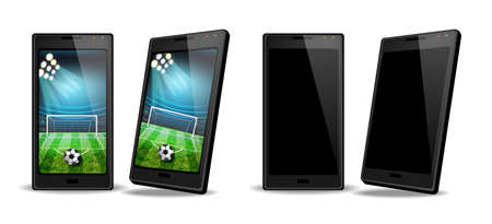 Smartphone with football score on screen Vector realistic. Sports betting online web banner templates Vektorové ilustrace