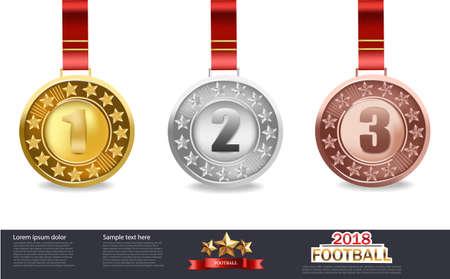 Vector de medallas de oro, plata y bronce
