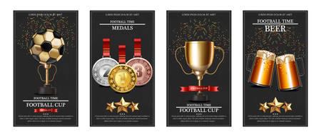 Premio e medaglie della Coppa del mondo di calcio Layout del modello di carte realistiche di vettore Vettoriali
