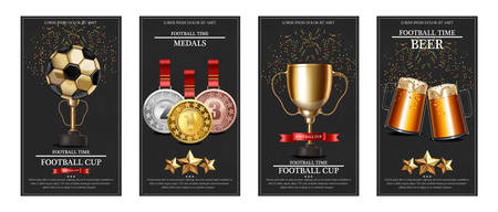Premios y medallas de la copa mundial de fútbol Diseños de plantillas de tarjetas realistas vectoriales Ilustración de vector