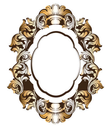 Baroque golden mirror frame. Vector French Luxury rich intricate ornaments. Victorian Royal Style decors