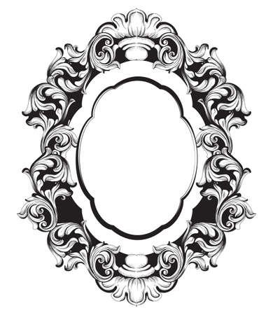 Specchio barocco cornice linea art. Ornamenti intricati ricchi di lusso francese di vettore. Decorazioni in stile vittoriano reale