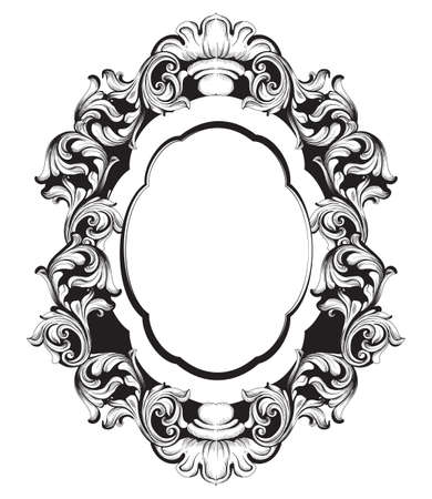 Baroque mirror frame line art. Vector French Luxury rich intricate ornaments. Victorian Royal Style decors Illustration