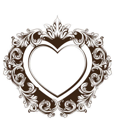 Vintage baroque frame heart shape card Vector. Detailed rich ornament illustration graphic line arts