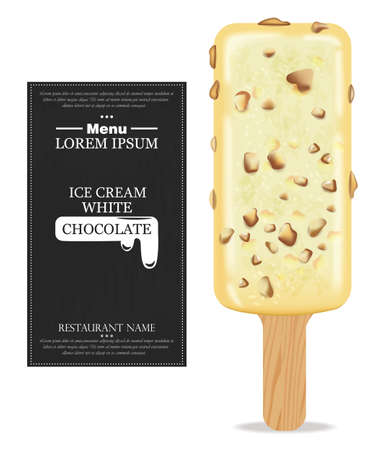 White chocolate ice cream Vector realistic. Product packaging mock up. Label menu dessert designs