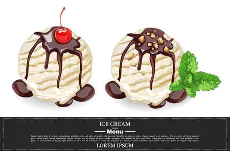 Vanilla Ice cream scoops with chocolate syrop Vector realistic. Vanilla, chocolate flavor menu template