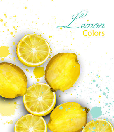 Watercolor lemons card Vector. Juicy fruits poster Illustration