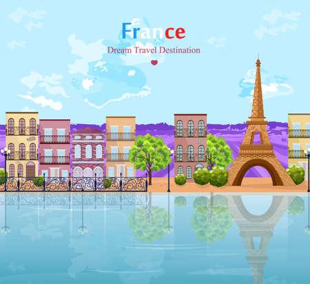 Paris landscape architecture of the city Vector. Tour Eiffel famous attractions
