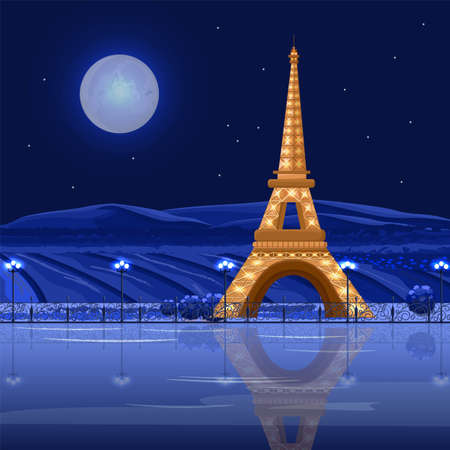 Tour Eiffel Paris at night Vector card. Beautiful background