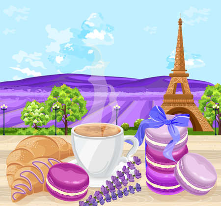 Cup of coffee with Croissants and macaroons french traditional desserts Vector. Lavender fields and Eiffel Tower background