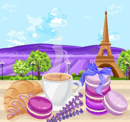 Taza de café con croissants y macarrones postres tradicionales franceses Vector. Campos de lavanda y fondo de la Torre Eiffel Ilustración de vector
