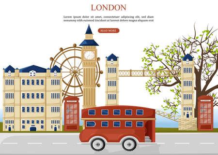 London Reisebus Vektor. Architekturfassaden im Hintergrund. Gebäude der Sehenswürdigkeiten der Stadt