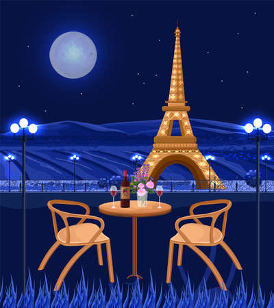 Romantic cafe with Eiffel Tower view. Paris at night Vector card. Beautiful backgrounds