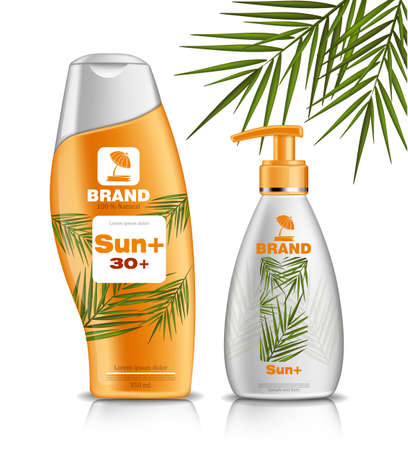 Sun screen and lotion UV protection Vector Realistic. Product packaging mock up set collection. Skincare moisture tropic scent 3d illustrations Illustration