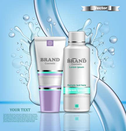 Conjunto de cosméticos de agua de hidratación Vector realista. Maqueta de embalaje del producto, Fondo de salpicaduras de agua Ilustración de vector