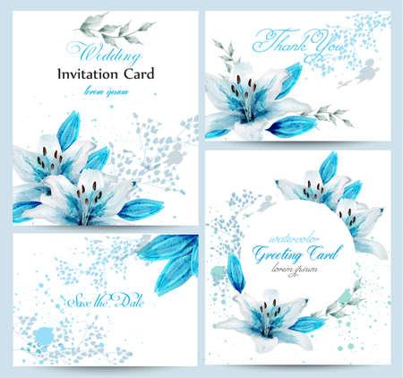 Blaue Lilie Aquarellblumenblütenkartenset Vektor. Weinlesegrußplakat, Hochzeitseinladung, danke Postkarte. Blumensträuße mit sommerlicher Blumendekoration